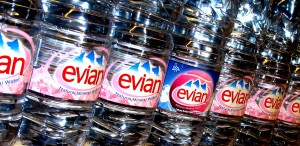 Bottles of Evian