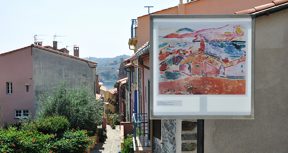 Information boards show where the artists painted their most famous scenes in Collioure